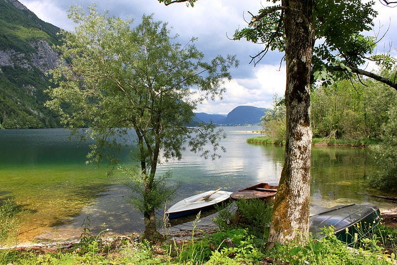 Kayak across the smaller Lake Bohinj