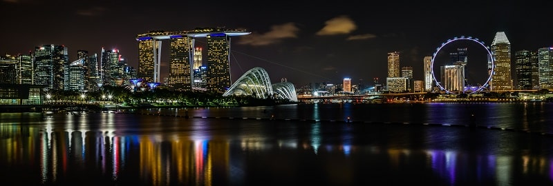 Panoramic view of marina bay skyline from gardens by the bay east