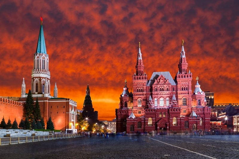 Red Square, Moscow Kremlin at sunset. Moscow, Russia