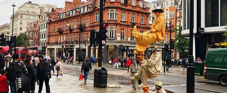 Street Performers put on a show in london