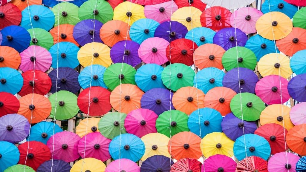 The colorful paper umbrellas handmade