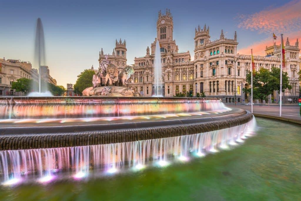 Madrid, Spain at Plaza de Cibeles at twilight